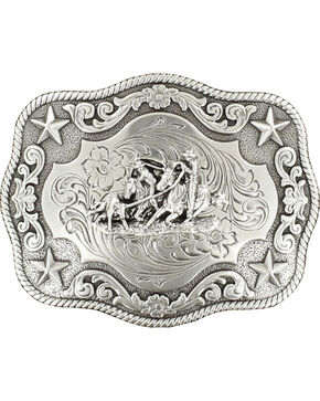 Nocona Men's Silver Team Roper Belt Buckle , Silver, hi-res