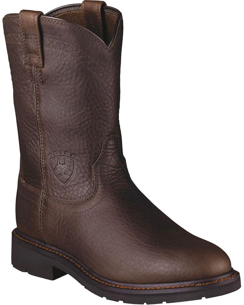 Ariat Sierra Cowboy Work Boots - Round Toe, Brick, hi-res