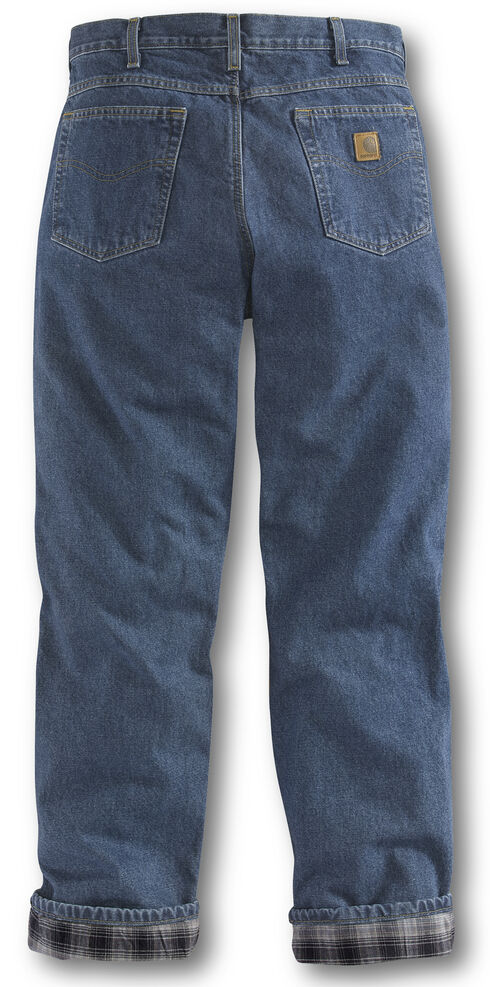 Carhartt Relaxed Fit Flannel Lined Straight Leg Jeans, Dark Stone, hi-res