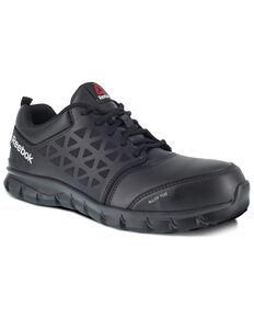 Reebok Men's Grey Sublite Cushion Work Shoes - Alloy Toe, Black, hi-res