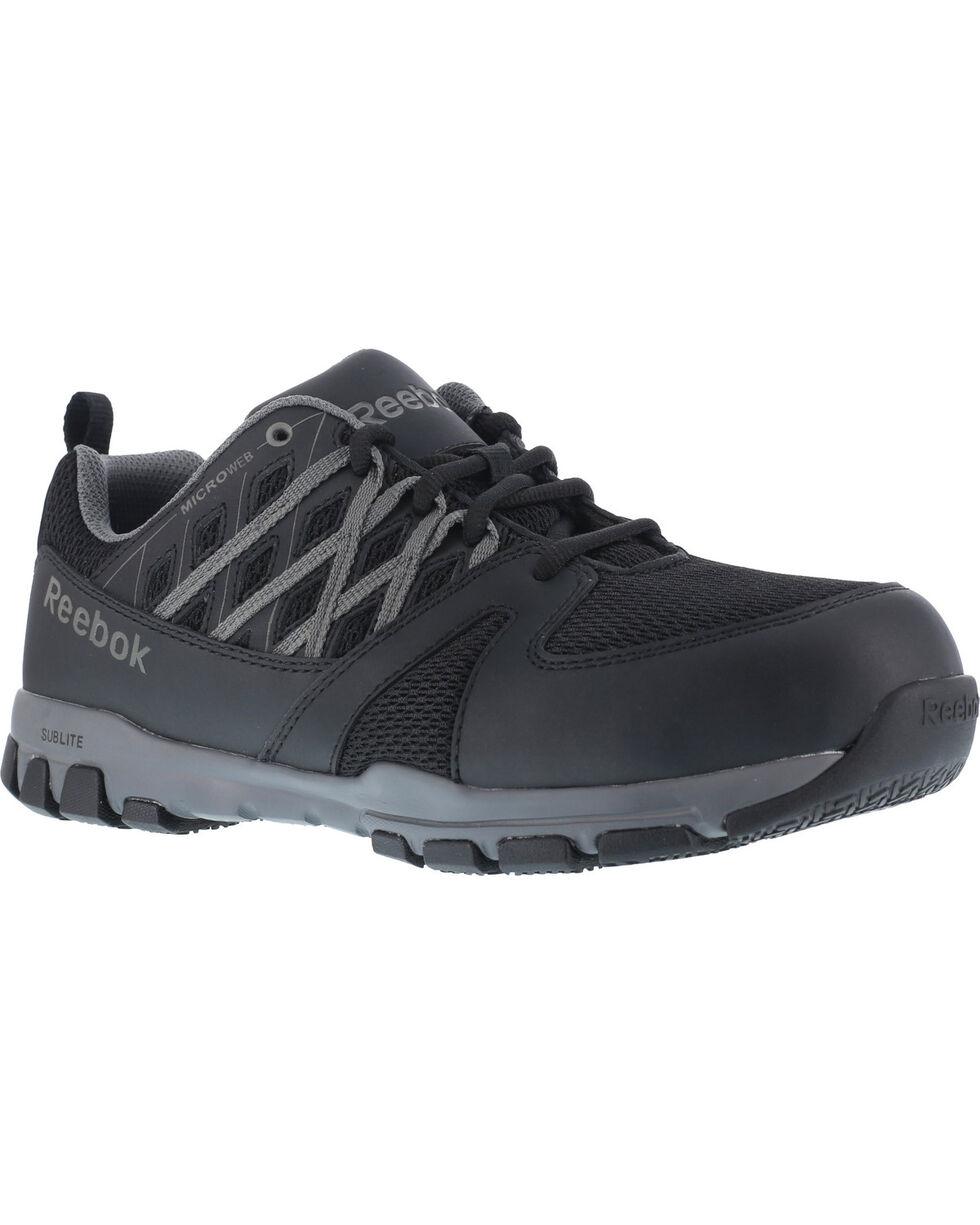 Reebok Men's Athletic Oxford Sublite Work Shoes - Soft Toe , Black, hi-res