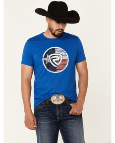 Rock & Roll Denim Men's Texas Flag Graphic Short Sleeve T-Shirt , Royal Blue, hi-res