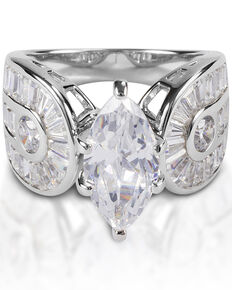 Kelly Herd Women's Horseshoe Marquise Ring , Silver, hi-res
