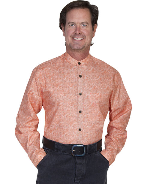 WahMaker by Scully Full Button Front Paisley Shirt, Coral, hi-res