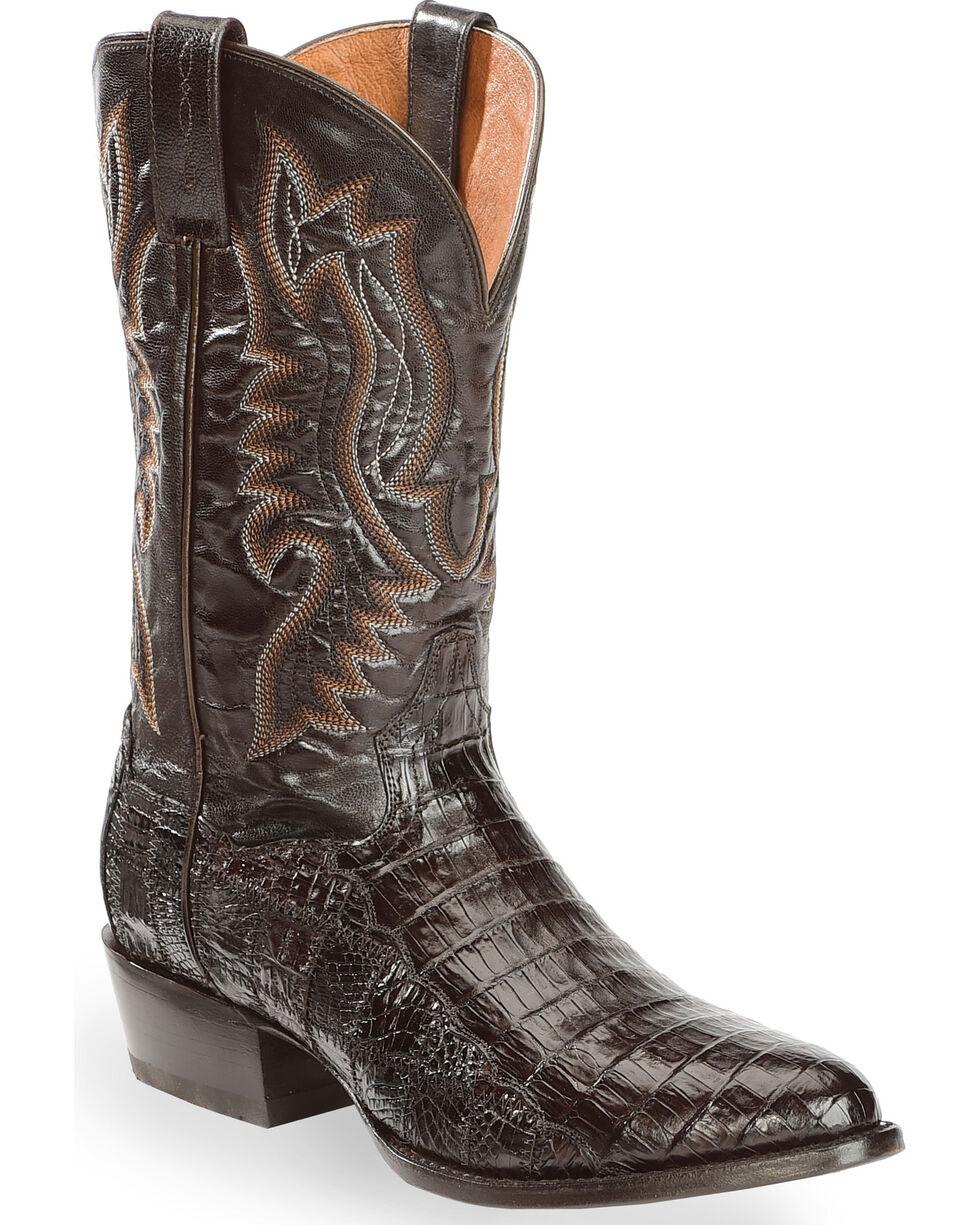 Dan Post Men's Everglades Chocolate Belly Caiman Cowboy Boots - Medium Toe, Chocolate, hi-res