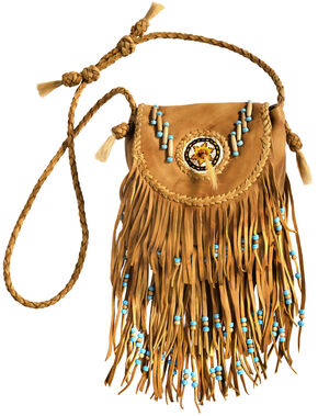 Kobler Leather Khaki Rossette Fringe Crossbody Bag, Khaki, hi-res