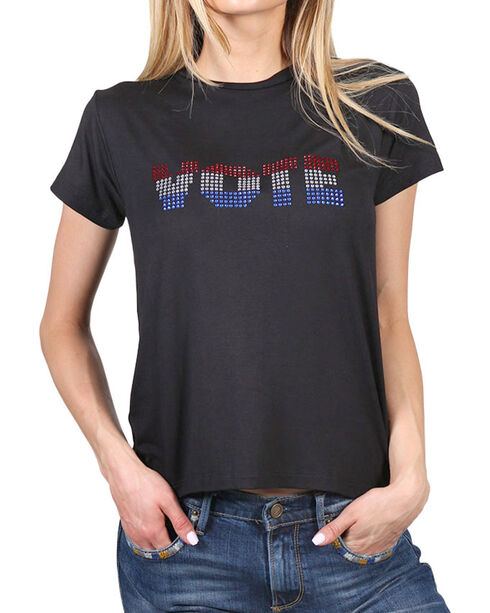 Luna Chix Women's Bling Vote Graphic Tee, Black, hi-res