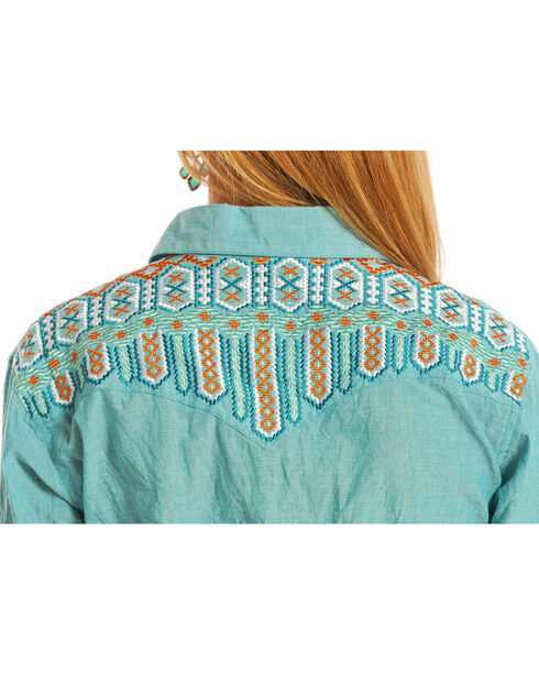 Panhandle Women's Turquoise Geometric Embroidered Shirt , Turquoise, hi-res