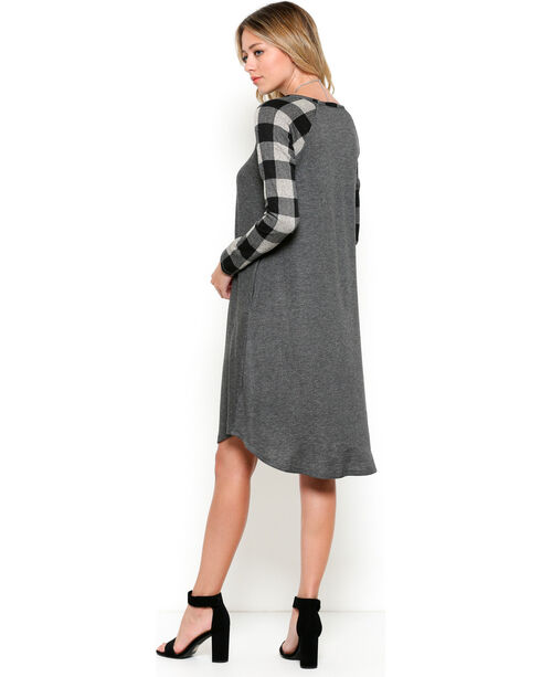 Ces Femme Women's Plaid Sleeve Dress, Black, hi-res