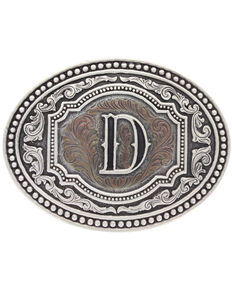"Montana Silversmiths Men's Initial ""D"" Two-Tone Attitude Belt Buckle, Silver, hi-res"