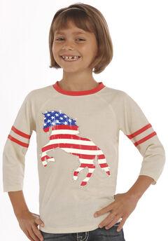 Rock & Roll Cowgirl Girls' Natural American Flag Horse Baseball Tee, Natural, hi-res