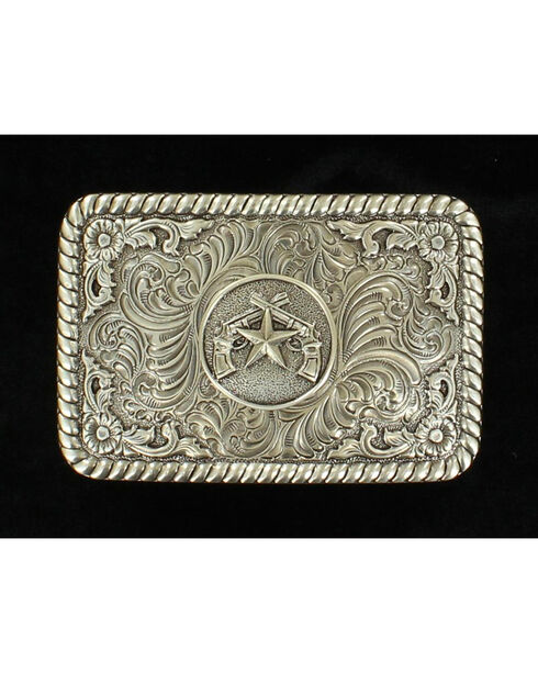 M&F Western Star and Pistol Belt Buckle, Silver, hi-res