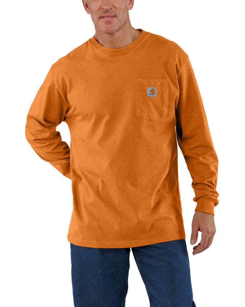 Carhartt Men's Pocket Long Sleeve Work Shirt - Tall, Rust, hi-res