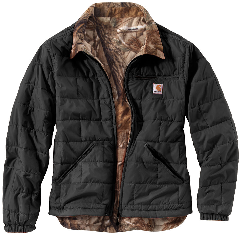Carhartt Men's Woodsville Reversible Camo Jacket, Black, hi-res