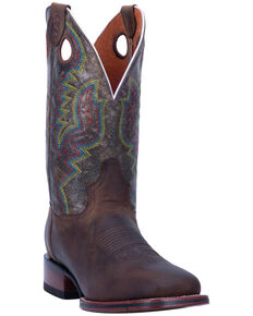 Dan Post Men's Chocolate Deuce Western Boots - Wide Square Toe, Chocolate, hi-res