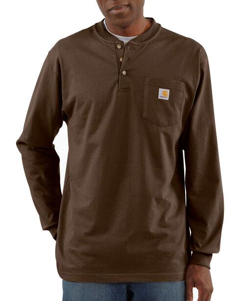 Carhartt Long Sleeve Work Henley Shirt, Dark Brown, hi-res