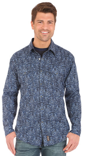 Wrangler Retro Men's Blue Print Long Sleeve Snap Shirt, Grey, hi-res