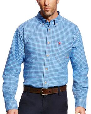 Ariat Men's FR Oliver Long Sleeve Plaid Work Shirt - Big & Tall, Blue, hi-res
