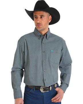 Wrangler Men's Turquoise Classic Printed Shirt , Black, hi-res