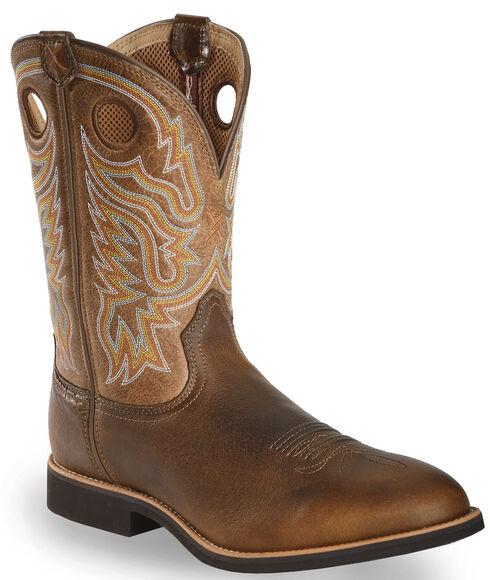 Twisted X Tan Joe Beaver Calf Roper Cowboy Boots - Round Toe, Brown, hi-res