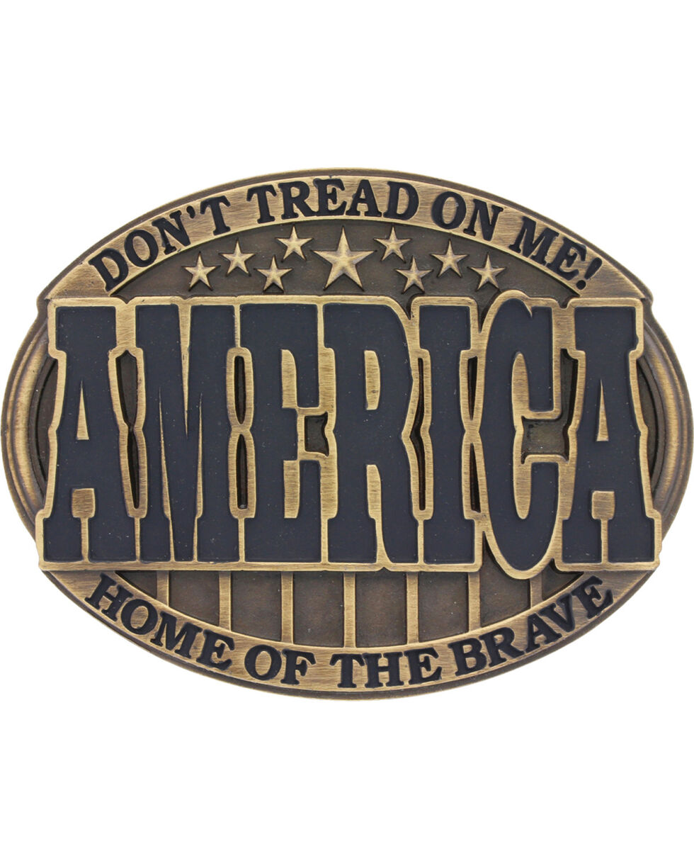 Montana Silversmiths Men's Brass Don't Tread On Me Belt Buckle , Silver, hi-res