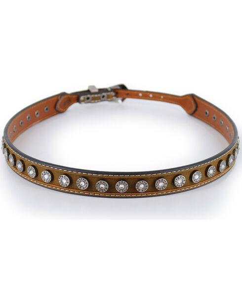 Cody James Men's Brown Silver 9mm Concho Hatband, Brown, hi-res