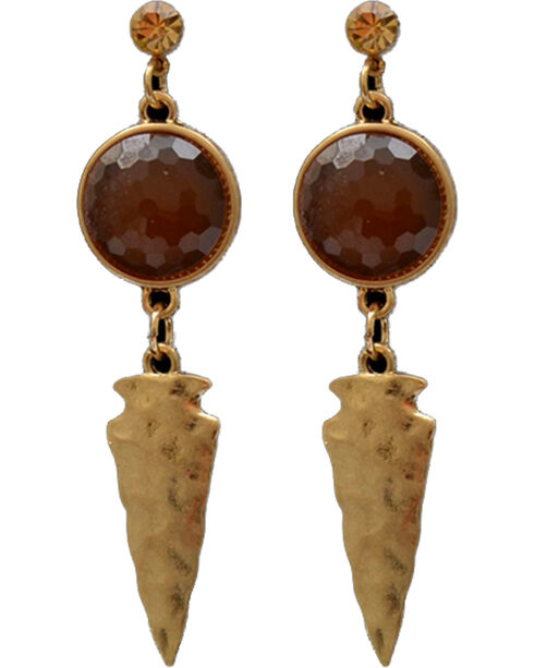 Shyanne Women's Arrowhead and Amber Stone Earrings, Silver, hi-res