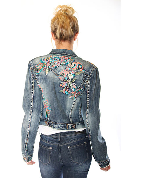 Grace in LA Women's Floral Embroidery Denim Jacket, Indigo, hi-res
