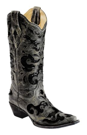 Corral Crater Sequins Inlay Cowgirl Boots - Snip Toe, Black, hi-res