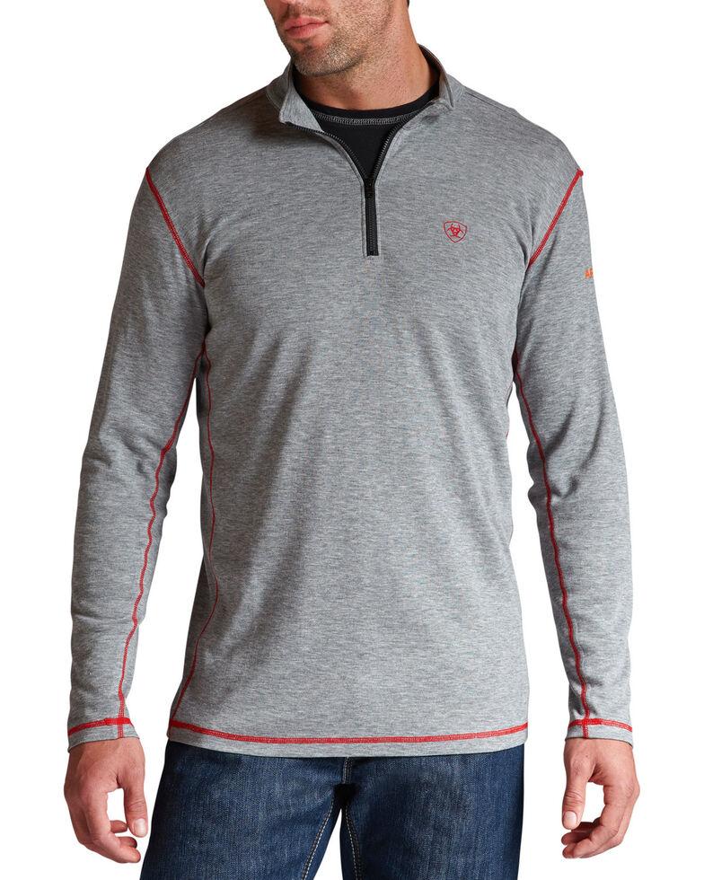 Ariat Flame Resistant Polartec 1/4 Zip Baselayer Pullover - Big and Tall, Hthr Grey, hi-res