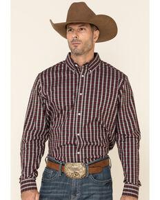 Cody James Core Men's Grapevine Plaid Long Sleeve Western Shirt , Burgundy, hi-res