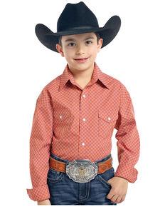 Rough Stock by Panhandle Boys' Orange Pinedale Vintage Print Long Sleeve Western Shirt , Orange, hi-res