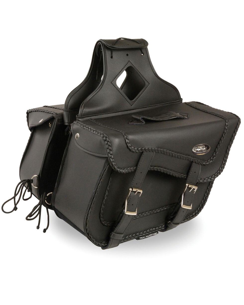 Milwaukee Leather Large Braided Zip Off Throw Over Saddle Bag, Black, hi-res