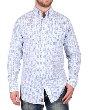 Ariat Men's White Flower Print Claude Western Long Sleeve Shirt , White, hi-res