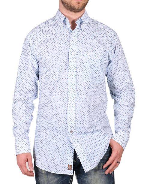 Ariat Men's White Flower Print Claude Western Long Sleeve Shirt , White, hi-res