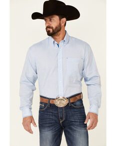 Rough Stock By Panhandle Men's Powder Blue Jacquard Paisley Print Long Sleeve Button-Down Western Shirt , Light Blue, hi-res
