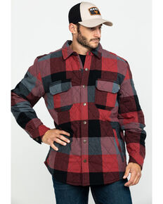 Hawx® Men's Red Quilted Plaid Shirt Work Jacket , Red, hi-res