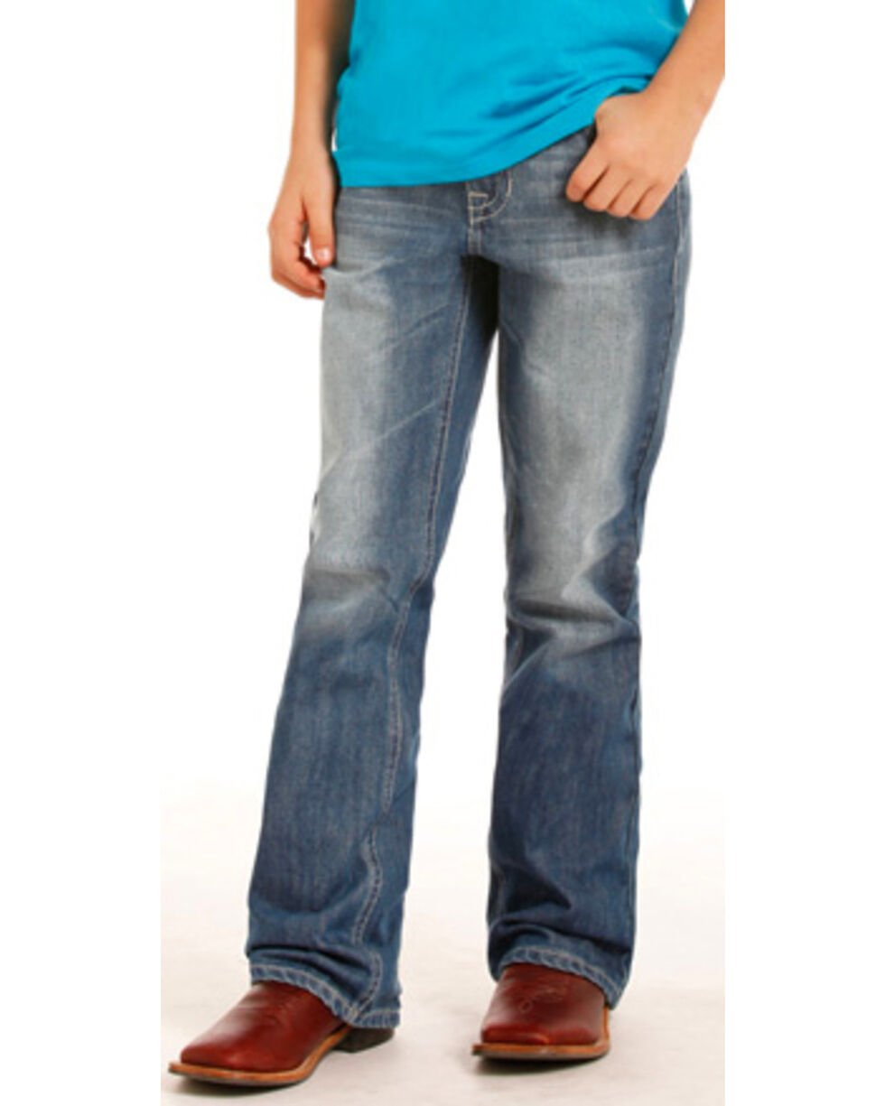 "Rock & Roll Cowboy Boys' Small ""V"" Stitch Jeans - Boot Cut , Indigo, hi-res"