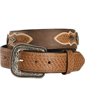 Cody James Men's Diamond Concho Basket Weave Western Belt, Brown, hi-res