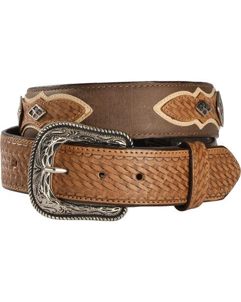 Cody James Men's Diamond Concho Basket Weave Western Belt, Brown, hi-res