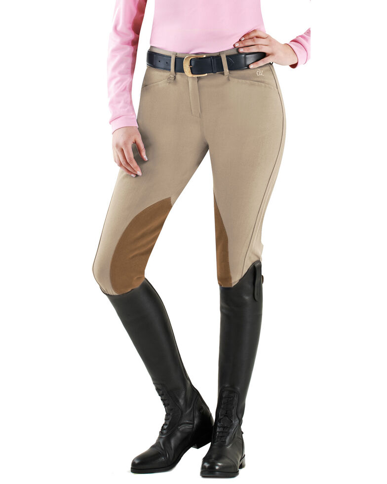 Ovation Euroweave DX Taylored Front Zip Knee Patch Breeches, Birch, hi-res