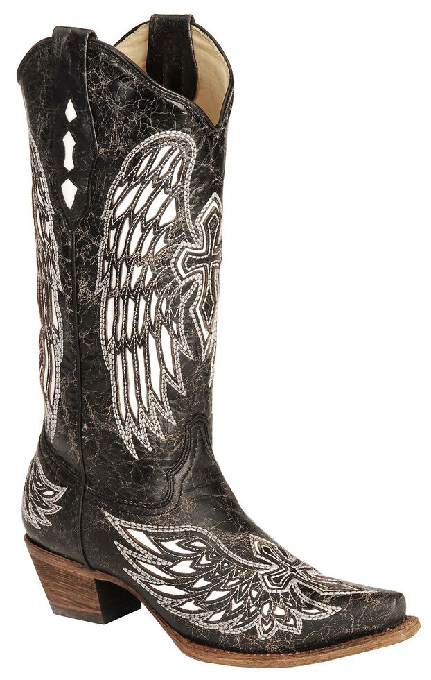 5f9dd4b42e4 Corral White Wing Inlay & Cross Embroidery Distressed Cowgirl Boots - Snip  Toe