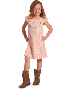 Shyanne Girls' Lace Dress with Necklace Set, Pink, hi-res