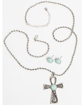 Shyanne Women's Bella Cross Turquoise Necklace Set, Silver, hi-res