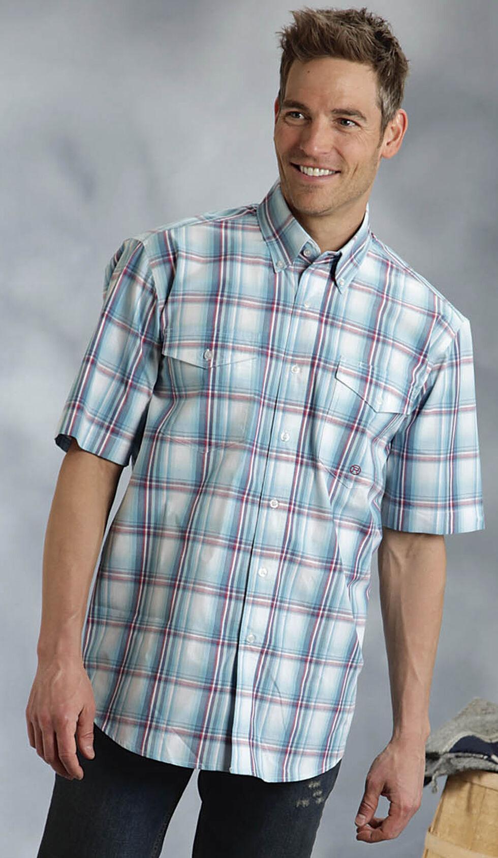 Roper Amarillo Collection Blue Plaid Short Sleeve Shirt, Blue, hi-res