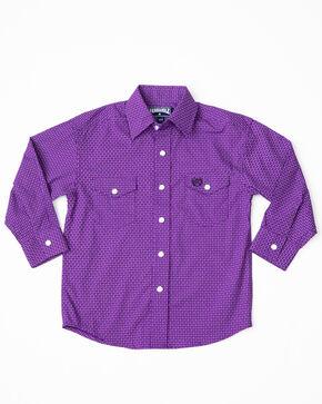 Panhandle Boys' Brushed Poplin Print Snap Long Sleeve Western Shirt , Purple, hi-res