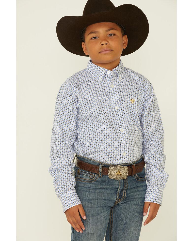 Ariat Boys' Bane Geo Print Long Sleeve Button-Down Western Shirt , White, hi-res
