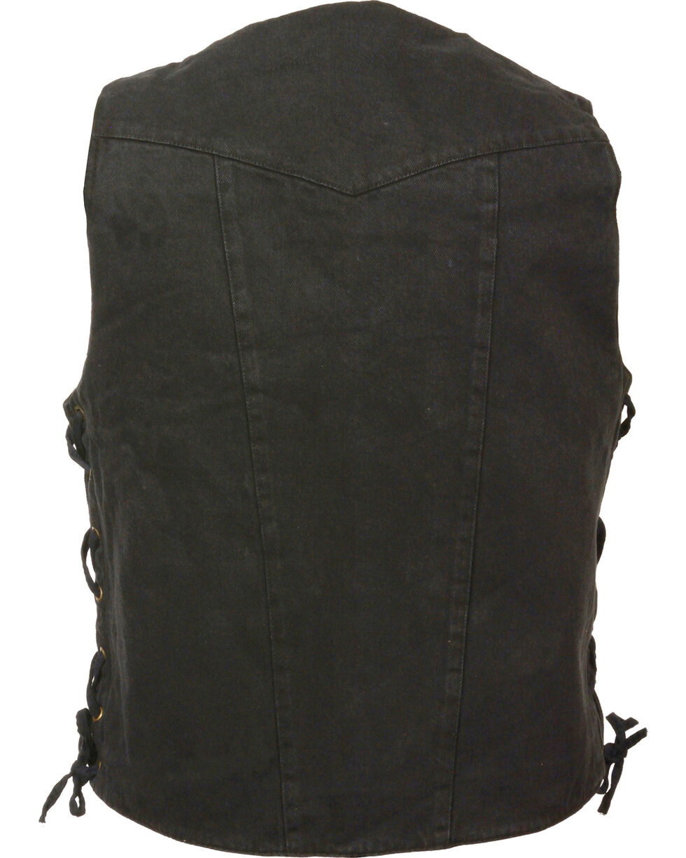 Milwaukee Leather Men's 10 Pocket Side Lace Denim Vest - 5X, , hi-res