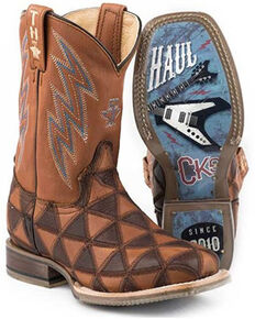Tin Haul Boys' Rockstar Western Boots - Square Toe, Brown, hi-res