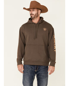 Ariat Men's Light Brown Sleeve Logo Pullover Hooded Sweatshirt , Lt Brown, hi-res